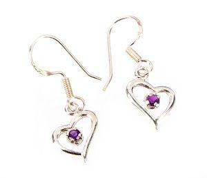Sterling Silver Amethyst Heart Earri