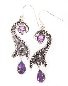 Purple Copper Turquoise Earrings