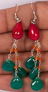 Handmade Earrings with Red of Garnet