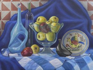 Apples in blue.