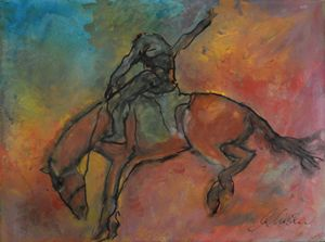 Bucking Rodeo Horse - Timeless Art On Canvas