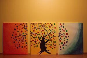 Abstract bohemian tree - tri canvas