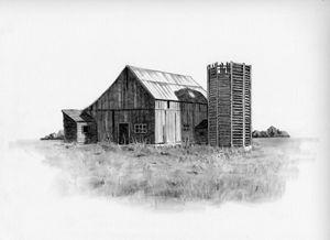 Old Wooden Barn and Silo - Joyce's Art