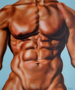 Male Abs acrylic painting