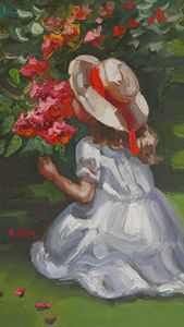 A girl smelling flowers