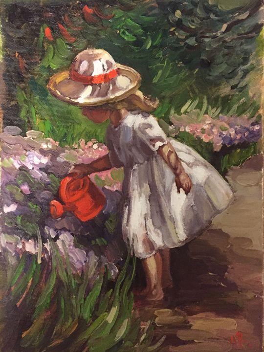 A girl watering flowers - Tamara's Chakras