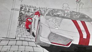 Lambo and Ferrari - Car Drawings