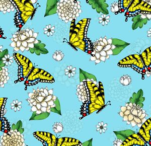 Swallowtails and Flowers Pattern
