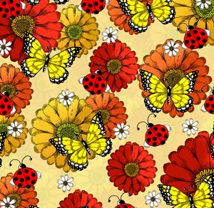 Ladybugs, Butterflies, and Flowers