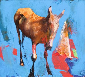 Horse on a blue background