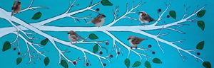 Sparrows winter branch - Northern Lights Art Co.