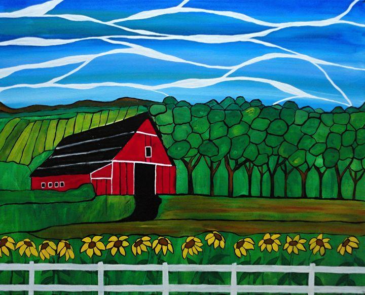 Red Barn Mosaic - Northern Lights Art Co.