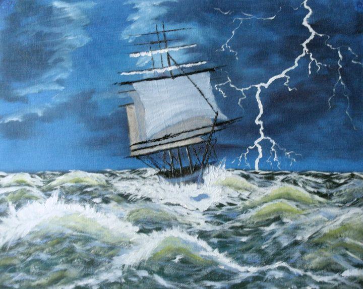 Tall ship in storm - DML Studio