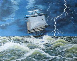 Tall ship in storm