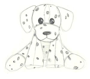 hand drawn dalmatian stuffed animal