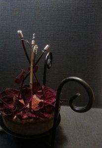 Roses Writhe, Wires Rise on Canvas