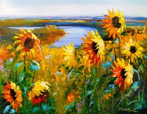 Field sunflowers by the river
