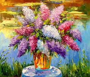 A bouquet of lilacs at the pond