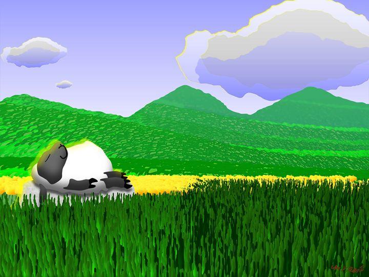 Sheep On A Rock -  Poe81