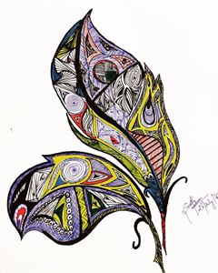 Feathers with tangle art