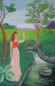 Lady waiting by the creek