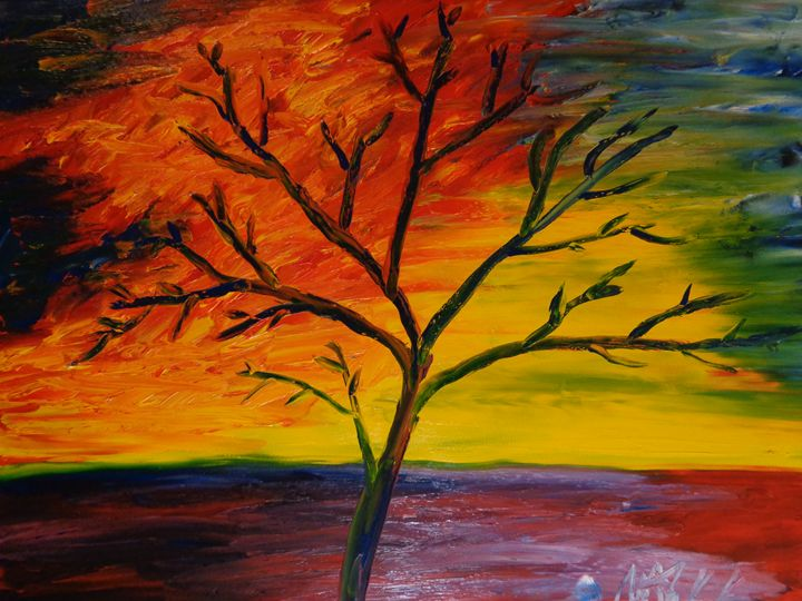 Sunset Tree Finger Painting MKART - MKinnamanArt