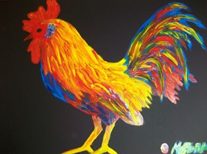 Colorster Rooster Finger Painted MK