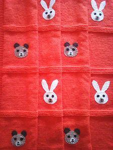 Knitted Orange Baby Blanket