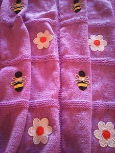 Knitted Light Purple Baby Blanket