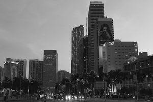A Miami View Black and White