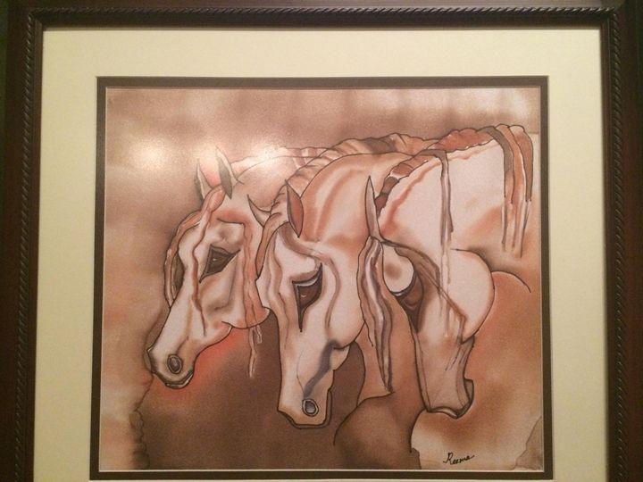 Arabian Horses - Silk Painting - Reema's Gallery