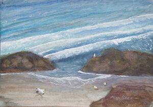 Seagulls on an empty beach.