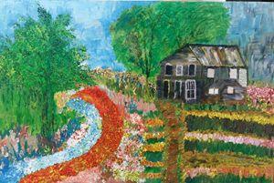 Old cottage resting on flower bed