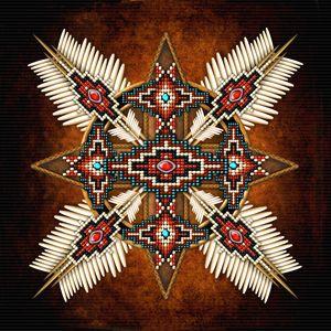 Native American Bead Cross Mandala