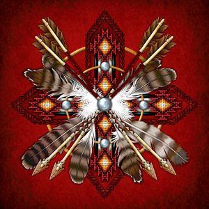 Native American Red Medicine Wheel
