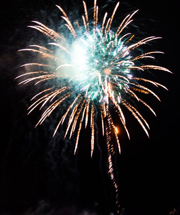 Green and Gold Firework - David J Riffey