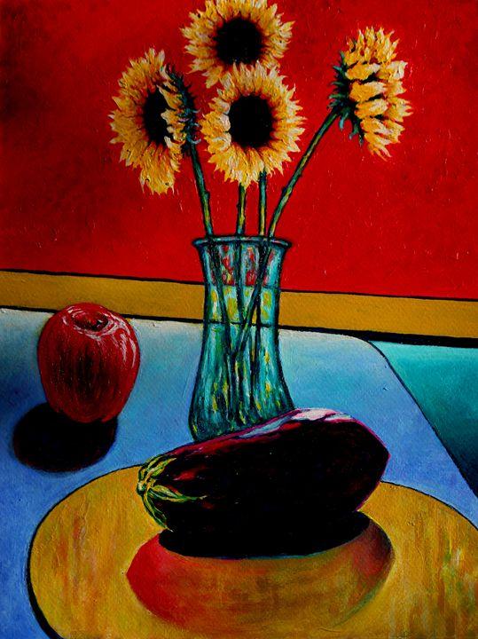 Still Life Sunflowers and Fruit - Greg Thweatt