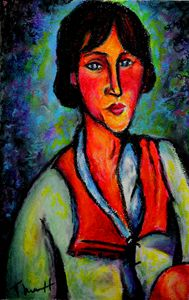 Woman Sitting With Red Scarf