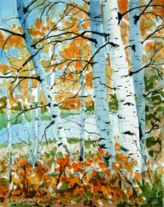 White Birch in Fall - Gardner Watercolors