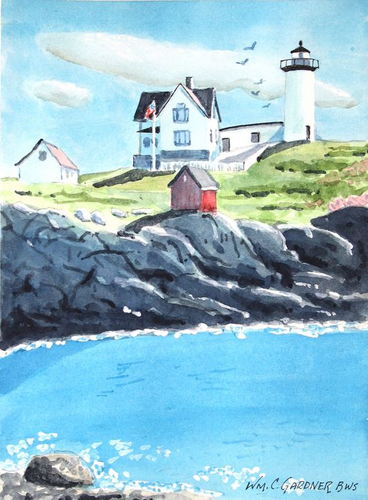 Nubble Lighthouse Maine - Gardner Watercolors