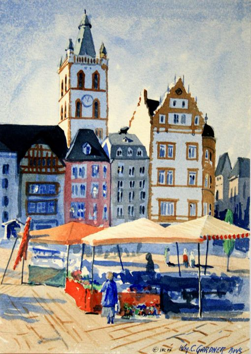 Market Square - Trier Germany - Gardner Watercolors