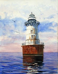 Hooper Island Lighthouse - Gardner Watercolors