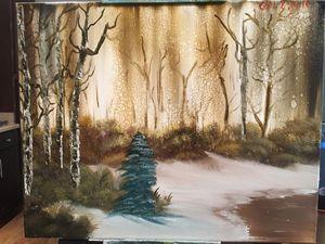 Brown snowy woods