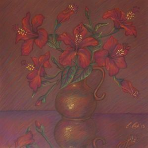 Red Hibiscus with Purple Background - Claudia Cox Art