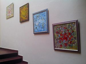 Katerina's work at an art gallery