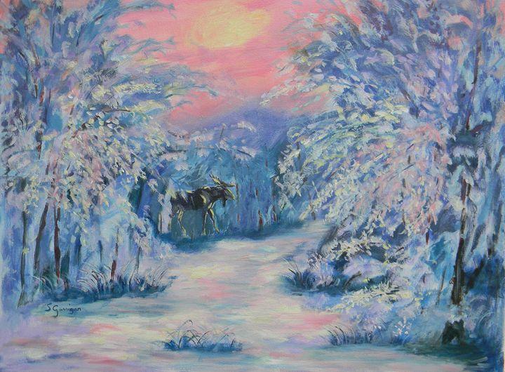 Moose in Winter - Garrigan Fine Art