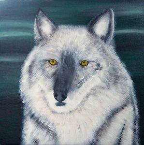 Grey Wolf Acrylic Painting