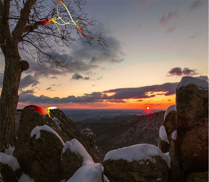 Sunset On Snow Rocks - KnKSTUDIO