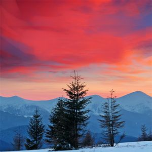 Mountains Under Red Sky