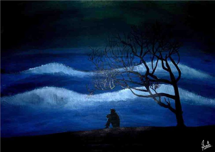 Peaceful Night Near Beach - Wave Art - Magical Art World